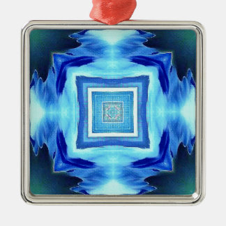 Cool Modern Shades of Blue Patterns Shapes Silver-Colored Square Decoration