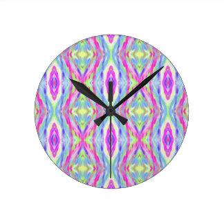 Cool modern Spring Pastel Tribal Pattern Wall Clocks