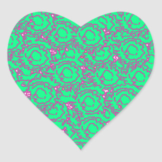 Cool modern swirls pink green SWIRLS06 pattern Heart Sticker