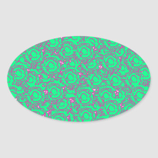 Cool modern swirls pink green SWIRLS06 pattern Oval Sticker