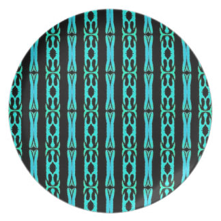 Cool Modern Turquoise Black Tribal Pattern Plates
