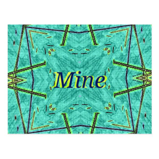 "Cool Modern Turquoise ""Mine"" Postcard"