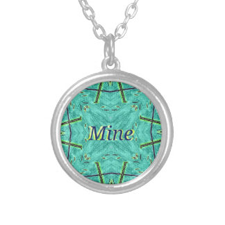 "Cool Modern Turquoise ""Mine"" Silver Plated Necklace"