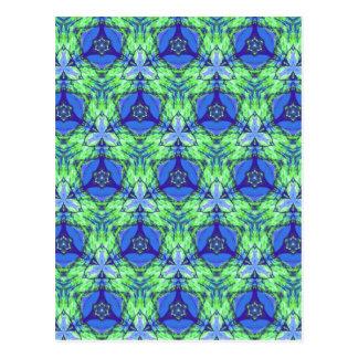 Cool modern vibrant blue lime green pattern postcard