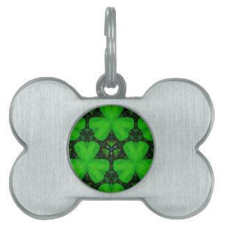 Cool Modern Vibrant Green Shamrocks Pet ID Tag