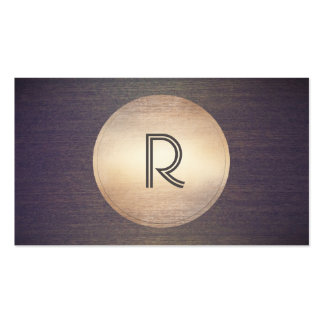 Cool Monogram DJ Music Gold Circle Wood Modern Pack Of Standard Business Cards