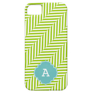 COOL monogram herringbone pattern lime turquoise Barely There iPhone 5 Case