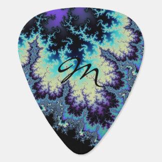 Cool Monogram Mandelbrot Fractal Guitar Pick