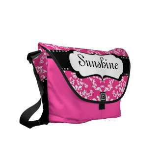 Cool Monogram Pink Damask Cute School Courier Bag