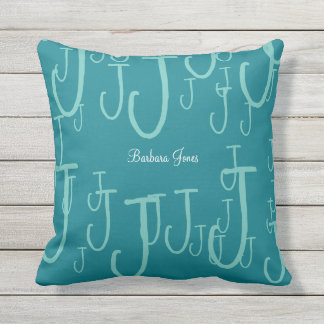 cool monogrammed turquoise blue throw pillow