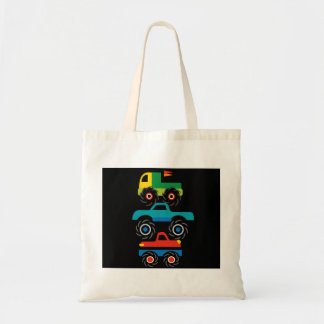 Cool Monster Trucks Blue Red Green Gifts for Boys Budget Tote Bag