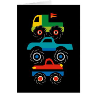 Cool Monster Trucks Blue Red Green Gifts for Boys Card