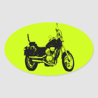 Cool motorcycle bike silhouette oval sticker