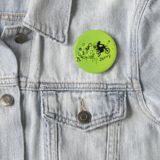 Cool Motorcyclist | Green 6 Cm Round Badge