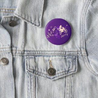 Cool Motorcyclist | Purple 6 Cm Round Badge