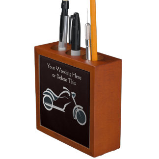 Cool Motorcyle Silhouette Optional Custom Wording Desk Organiser