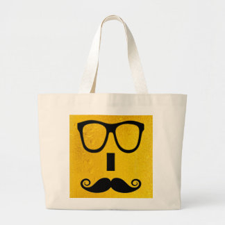 cool moustache on a beer effect image jumbo tote bag