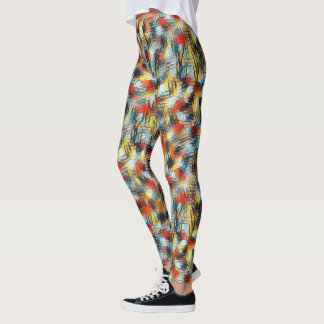 Cool Multi-color Abstract Mesh Pattern Leggings