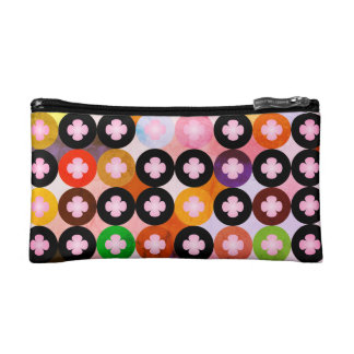 Cool Multi Colored Circles & Pink Clovers Makeup Bag