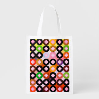 Cool Multi Colored Circles & Pink Clovers Reusable Grocery Bag