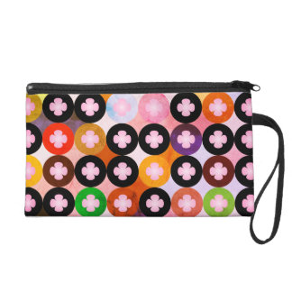 Cool Multi Colored Circles & Pink Clovers Wristlet