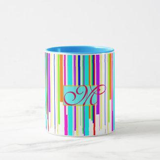 "Cool ""multicolor stripes"" pattern monogram mug"