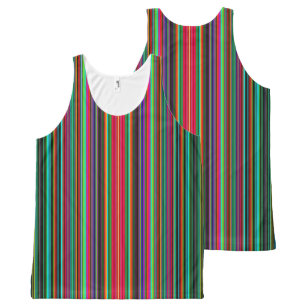 Cool Multicolored Stripes All-Over Print Singlet