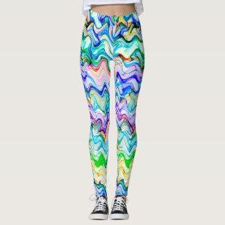Cool Multicolored Wavy Zig Zag Pattern Leggings