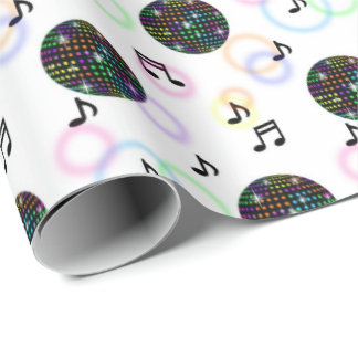 Cool music disco ball pattern party wrap wrapping paper