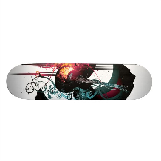 Cool Music Graphic with Guitar Skateboard
