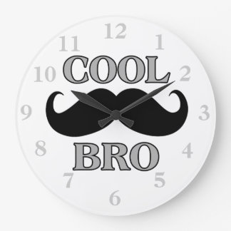 Cool Mustache Bro Large Clock
