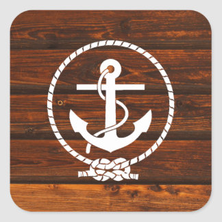 Cool Nautical Anchor & rope wood grunge effects Square Sticker