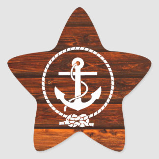 Cool Nautical Anchor rope wood grunge effects Star Stickers