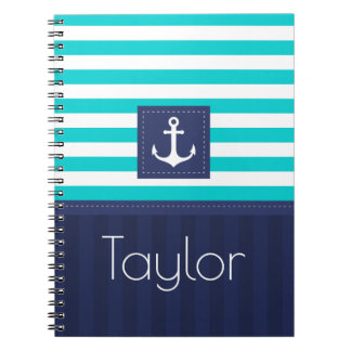 Cool Nautical Blue Stripes Design Personalized Notebooks