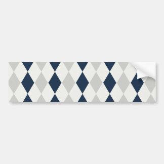 Cool Navy Blue and Gray Argyle Diamond Pattern Bumper Sticker