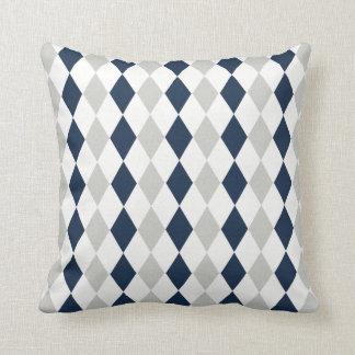 Cool Navy Blue and Gray Argyle Diamond Pattern Cushion
