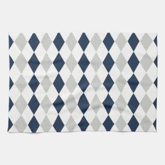Cool Navy Blue and Gray Argyle Diamond Pattern Tea Towel