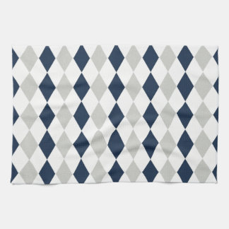 Cool Navy Blue and Gray Argyle Diamond Pattern Towels