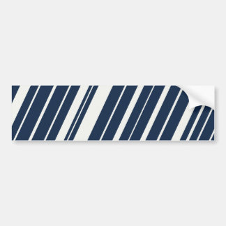 Cool Navy Blue and White Diagonal Stripes Pattern Bumper Sticker