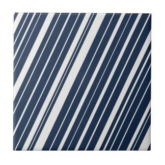 Cool Navy Blue and White Diagonal Stripes Pattern Small Square Tile