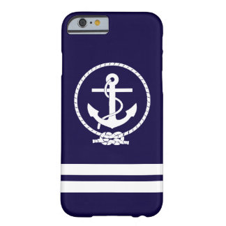 Cool Navy Blue Nautical Anchor Barely There iPhone 6 Case