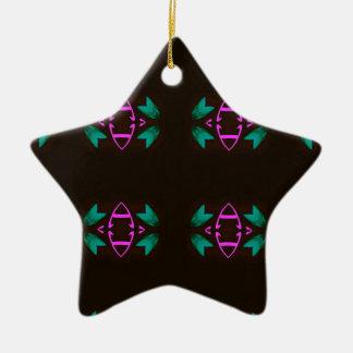 Cool Neon Fushia Teal Graphic Art Pattern Ceramic Ornament