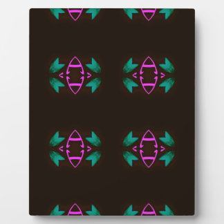 Cool Neon Fushia Teal Graphic Art Pattern Plaque