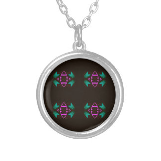 Cool Neon Fushia Teal Graphic Art Pattern Silver Plated Necklace