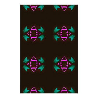 Cool Neon Fushia Teal Graphic Art Pattern Stationery