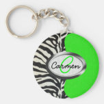Cool Neon Green and Zebra Print Monogram Basic Round Button Key Ring