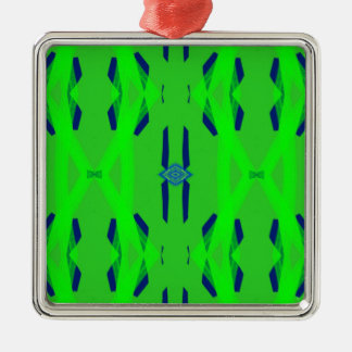 Cool Neon Green Blue Artistic Abstract Metal Ornament