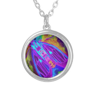 Cool Neon Insect/Bug Electric Painted Nature Silver Plated Necklace