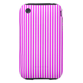 Cool Neon Pink and White Stripes iPhone 3 Tough Covers