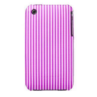 Cool Neon Pink and White Stripes iPhone 3 Cases